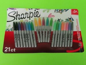 New 21 Count Pack Sharpie Vivid Neon Original Fine Point Permanent Markers
