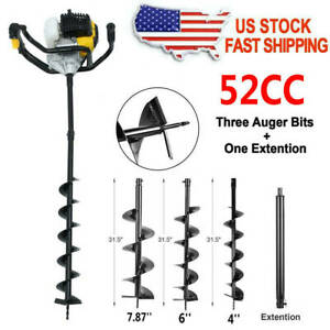 New 52cc Post Hole Digger Gas Powered Earth Auger Borer Fence Ground Drill 3 Bit