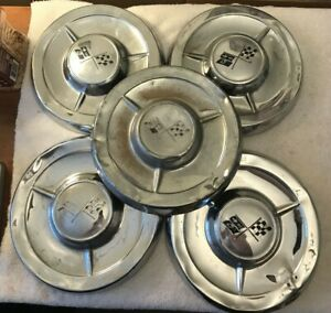 1958 Chevrolet Dog Dish Poverty Big Brake Hubcaps Set Of 5