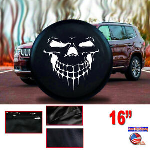 16 Black Grinning Skull Spare Tire Cover 30 31 For Rv Jeep Truck Suv Size L