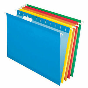 Hanging File Folders Legal Size Five Assorted Colors 25 Ct