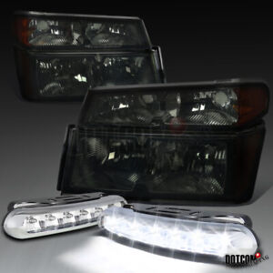 For 2004 2012 Chevy Colorado Gmc Canyon Smoke Headlight clear 6 led Drl Fog Lamp