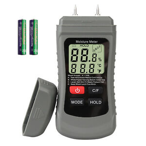 Digital Lcd Wood Moisture Meter Detector Tester With 2 Test Probe Pins For Wood