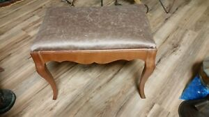 Vintage Oak Wood Vanity Stool Bench Seat Refurb Excell Cond