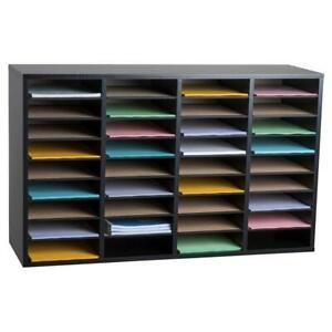 Literature Organizer Wood Adjustable 36 Compartment Black Rugged Durable Shelve