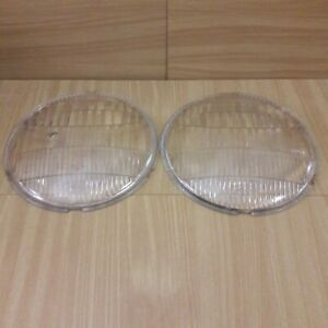 Pair 9 Ford Twolite Glass Headlight Lamp Lens Rounded