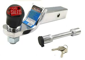 Drop Hitch Ball Chrome 2 Mount Trailer Receiver Tow Truck Kit