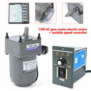 Us gear Motor Electric Variable Speed Controller 1 10 125rpm 110v 15w One phase