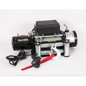 Vi 8000lb Electric Recovery Winch Universal Dc 12v Steel Cable Rope Towing