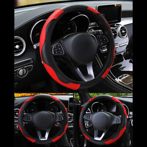 Black Red 38cm 15 Car Auto Microfiber Leather Steering Wheel Cover Universal