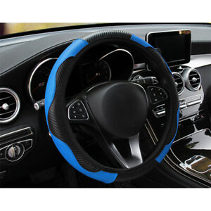 Black Blue 38cm 15 Car Auto Microfiber Leather Steering Wheel Cover Universal