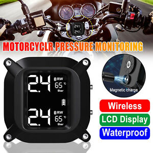 Wireless Lcd Motorcycle Tpms Tire Pressure Monitor Systems 2 Sensors