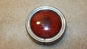 Vintage Naco Guide Stimsonite Round Red Glass Tail Light Lens Bezel C