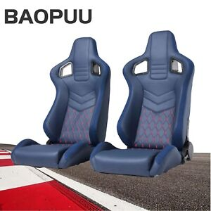 Blue Pvc Leather Suede Red Stitching Left right Reclinable Racing Bucket Seats