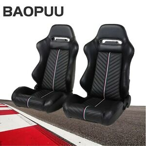 1 Pair Universal Reclinable Racing Bucket Seats Black Pvc Stitching Color Strip