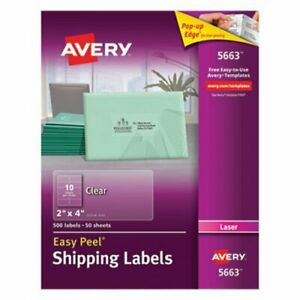 Avery 5663 Easy Peel Clear Shipping Labels 2 X 4 500 Labels ave5663