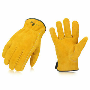 Vgo 1 3 9 Pairs Unlined Cowhide Split Leather Work Gloves heavy Duty cb9501 g