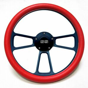 14 Black Billet Red Vinyl Steering Wheel Chevy Ss Horn