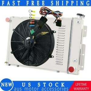 Fit 67 69 Chevy Camaro Pontiac Firebird V8 3 Row Radiator Shroud Fan Thermostat