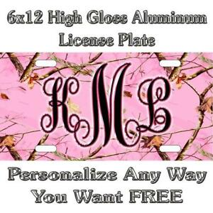 Camo Camouflage Pink Sign Custom Monogram License Plate Auto Car Tag Personalize