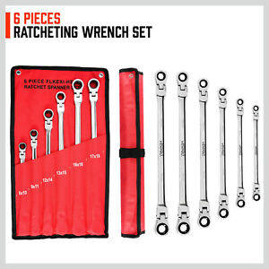 6pcs Ratcheting Wrenches Set Flex Head Double Box End Extra Long Metric Us