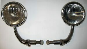 Pair Superb Original 1930 31 Model A Ford Cowl Lamps Complete With Arms
