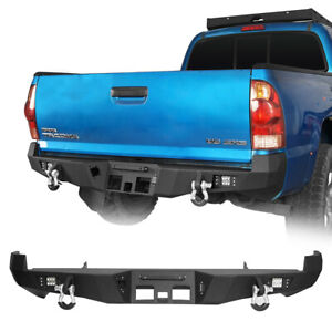 Rear Bumper W floodlights D rings For 2nd Gen Toyota Tacoma 2005 2015 Textured