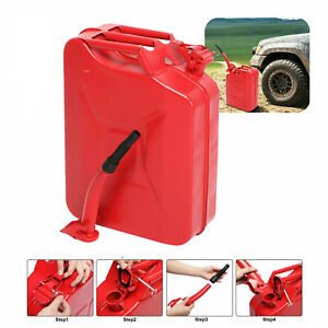 20l Litre Red Military Can Gasoline Bucket Fuel Petrol Diesel Red W Spout