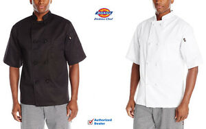 2 pack Dickies Chef Coat Short Sleeve Cloth Knot Buttons Chef Jacket