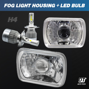 7 X6 Inch Projector Sealed Beam Headlight Conversion Clear Lens H4 Cree Led