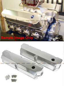 For Sbf Ford Polished Fabricated Aluminum Valve Covers Short Bolt 289 302 351w