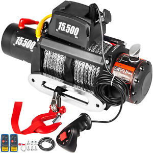 15500lb Electric Winch 12v Synthetic Cable Off Road Atv Utv Truck Towing Trailer