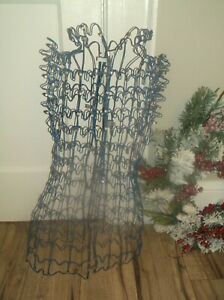 Vintage Wire Metal Adjustable Dress Form Tabletop Mannequin Blue Coated Wire