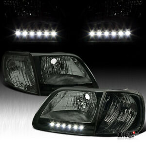 Fit Ford 1997 2003 F150 1997 2002 Expedition Led Headlights Corner Lamps Smoke