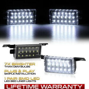 Bright White 14 19 Chevy Silverado Full Led Truck Bed Cargo Light Lamp L R Set