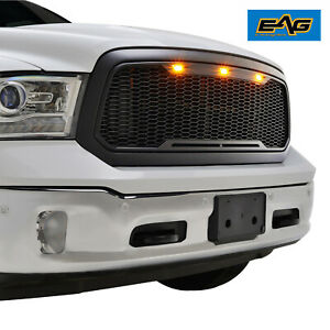 Eag Mesh Grille Raptor Style Black Led Replacement Fit 13 18 Dodge Ram 1500