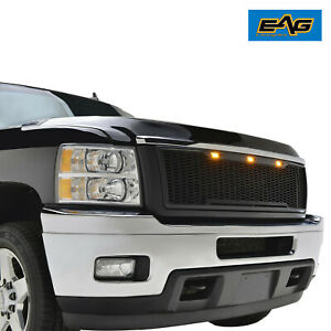 Eag Front Hood Led Grille Upper Mesh Grill Fit 11 14 Silverado 2500 3500