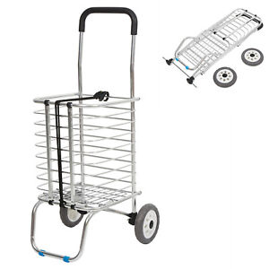 Aluminum Grocery Shopping Cart Folding Laundry Travel Utility Basket Trolley New