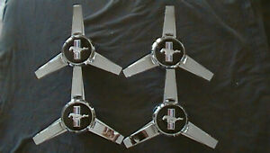 4 Pc Fits Ford Center Cap Hubcap Mustang Chrome Wheel Spinner Knock Off Used