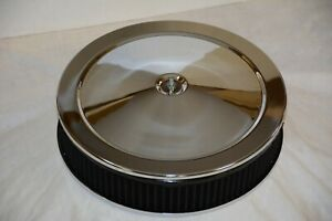 Chrome 14 X 3 Air Cleaner Black Washable Round Filter Element Flat Base