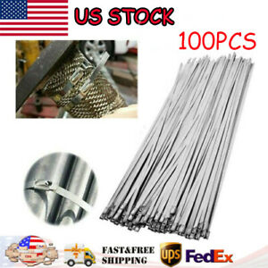 100 Pcs 304 Stainless Steel 12 Exhaust Wrap Coated Metal Locking Cable Zip Ties
