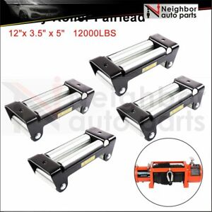 10 Roller Fairlead Winch Mount Guide Cable Wire Lead 8000 12000lbs Us 4pcs