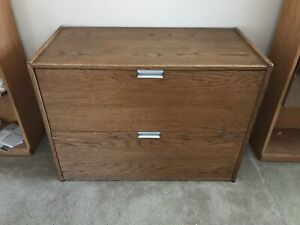 2 Drawer Real Wood Oak Lateral File Cabinet