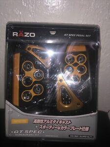 Razo Rp103ye Gt Spec Pedal Set Pedals Gold Universal Fitment Japanese Cars Jdm