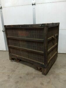 Rare Vintage Industrial Bin Cart Woven Wood Basket Style Mill Laundry Factory