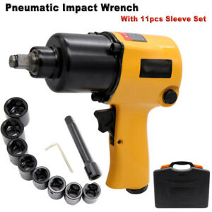 Air Pneumatic Impact Wrench Tire Remoual 1 2 Drive Rattle Gun W 11 Sleeves Us