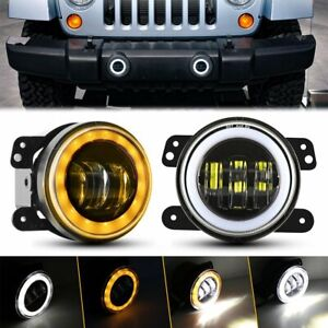 Pair 4 Round Led Fog Lights Halo Angel Driving Lamp For Jeep Wrangler Jk Tj Lj