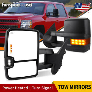 Power Tow Mirrors Driver Passenger Side For 07 14 Chevy Silverado 1500 2500 Hd