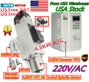 4 5kw 220v Milling Cnc Automatic Tool Change Atc Bt30 Air Spindle Motor Vfd us