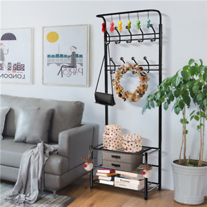72 H Hall Tree Entryway Storage Stand Coat Rack Shoe Bench 3 Shelves 18 Hooks